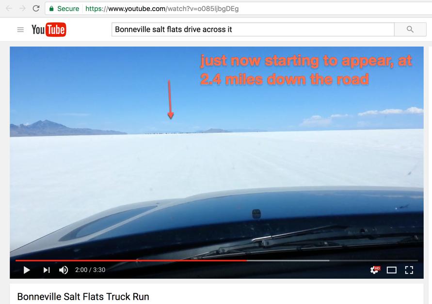 Bonneville Salt Flats prove curvature of the Earth